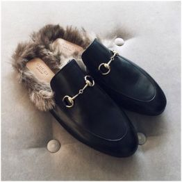 fur lined mules - gucci